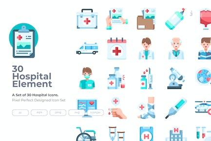 30 Hospital Element Icons - Flat
