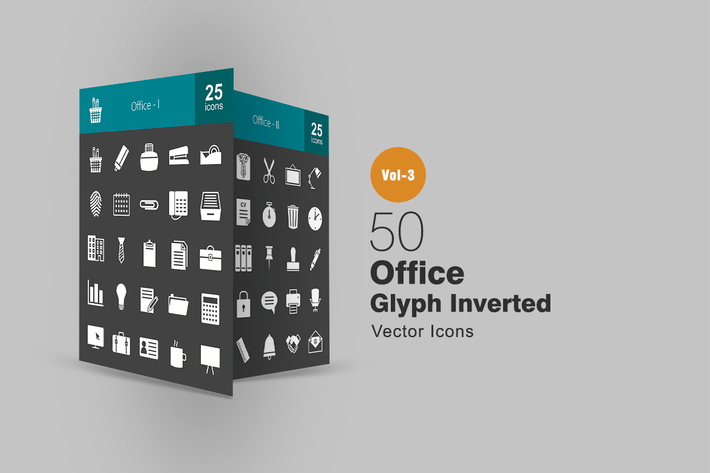 Thumbnail for 50 Office Glyph Inverted Icons