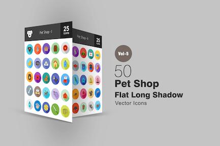 50 Pet Shop Flache Shadowed Icons