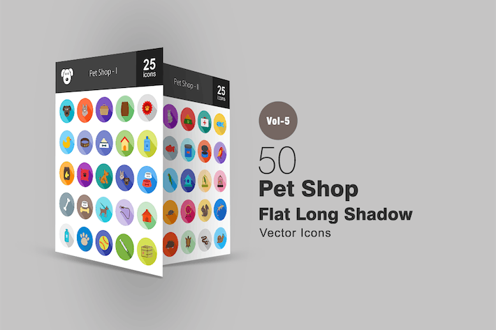 Thumbnail for 50 Pet Shop Flat Shadowed Icons