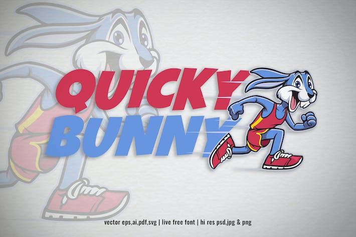 Thumbnail for running cartoon rabbit mascot for logo