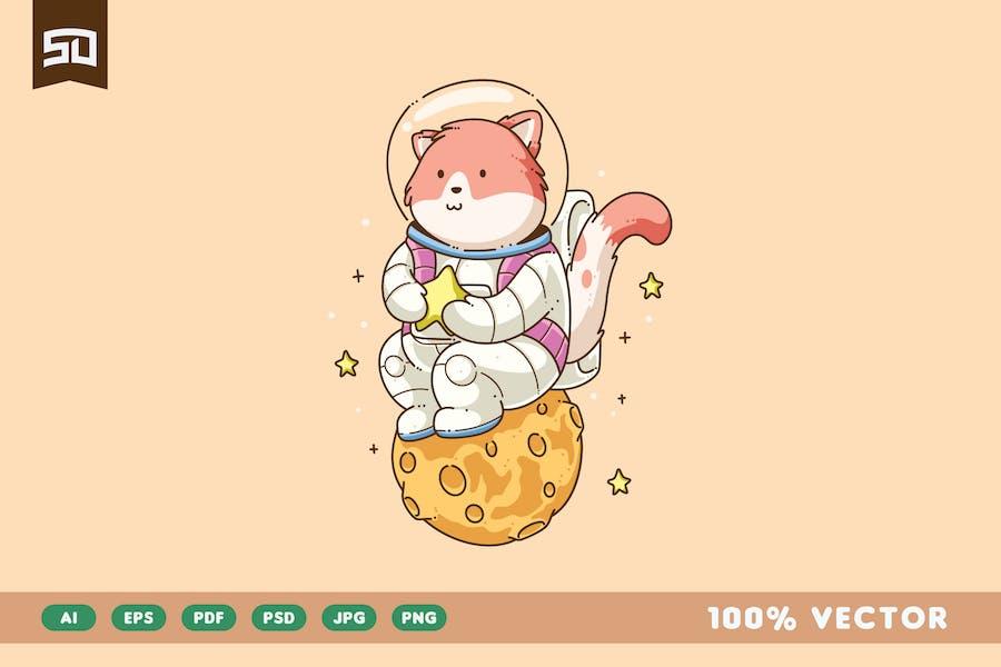 Design d'illustration de chat astronaute mignon