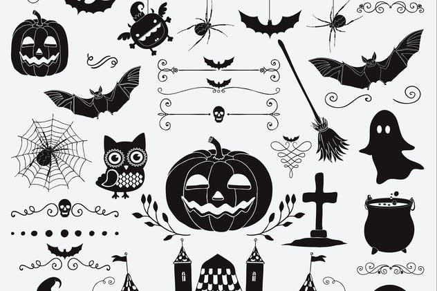 Hand Sketched Doodle Halloween Icons Set.