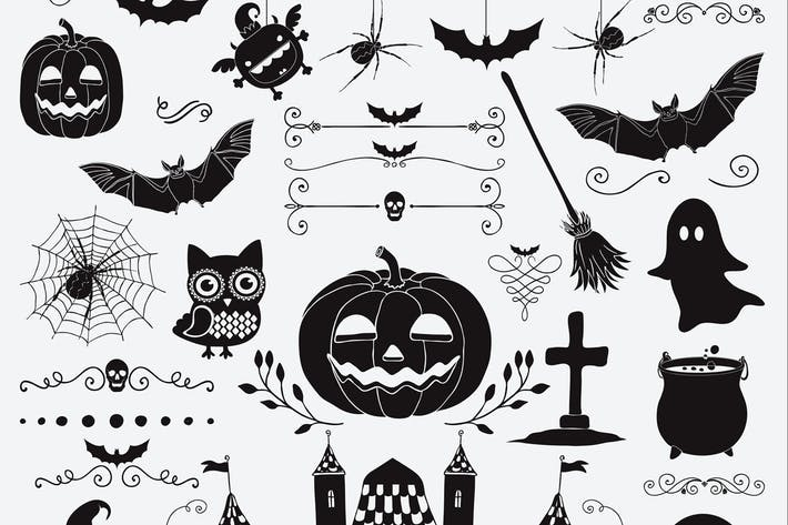 Thumbnail for Hand Sketched Doodle Halloween Icons Set.