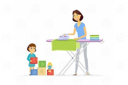 Mujer joven plancha ropa - ilustración Vector