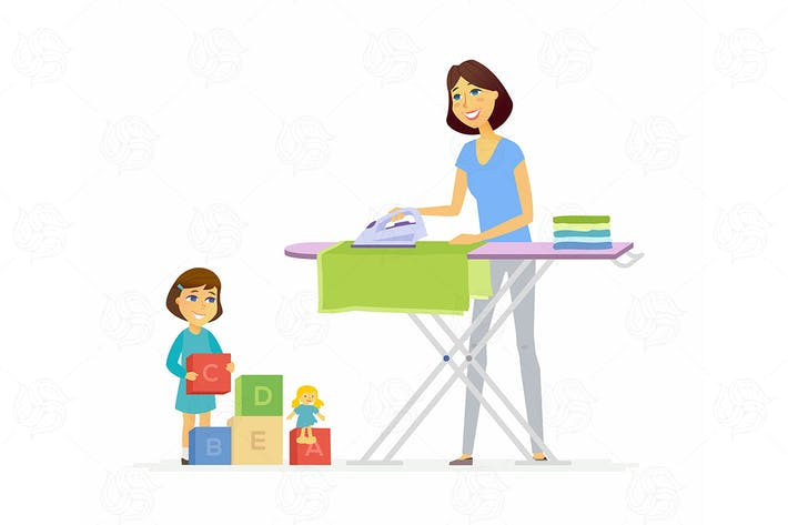 Thumbnail for Young woman irons clothes - vector illustration