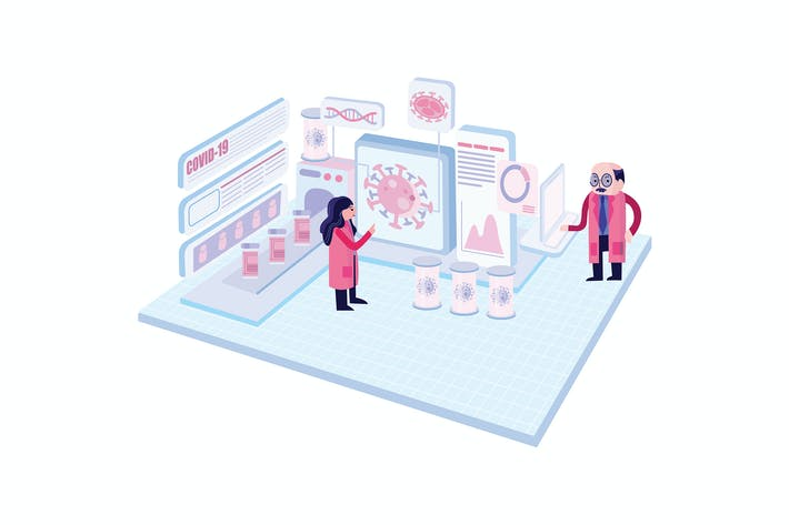 Thumbnail for Corona Virus Research Team Vektor illustration