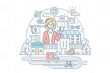 Geschäftsfrau - Linie Design Stil Illustration