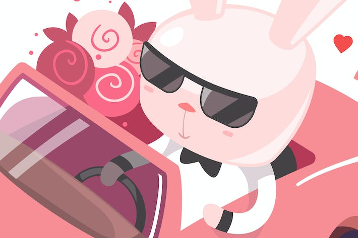 Thumbnail for Cute bunny riding in a car with a bouquet of flow