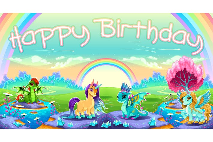 Thumbnail for Happy Birthday card with Fantasy Animals