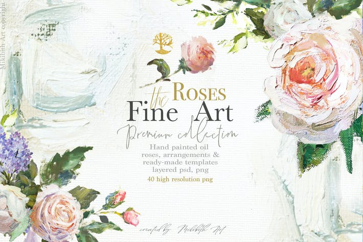 Thumbnail for Oil painted Fine Art roses collection