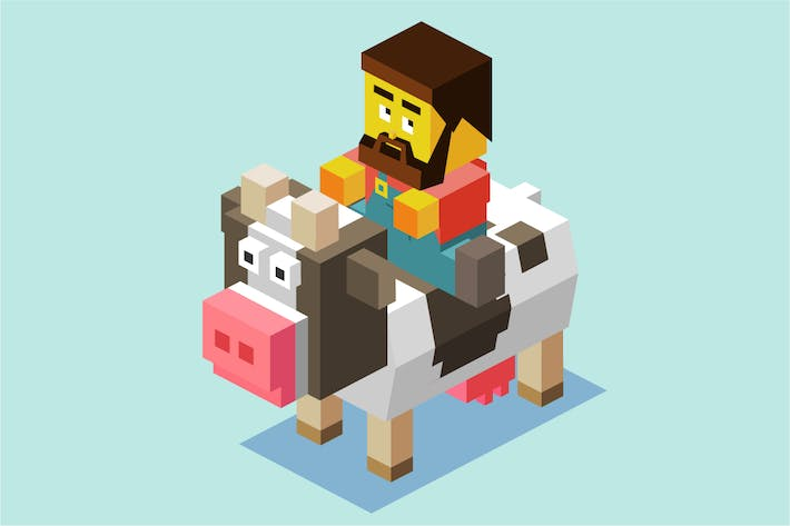Thumbnail for Farmer riding a Cow
