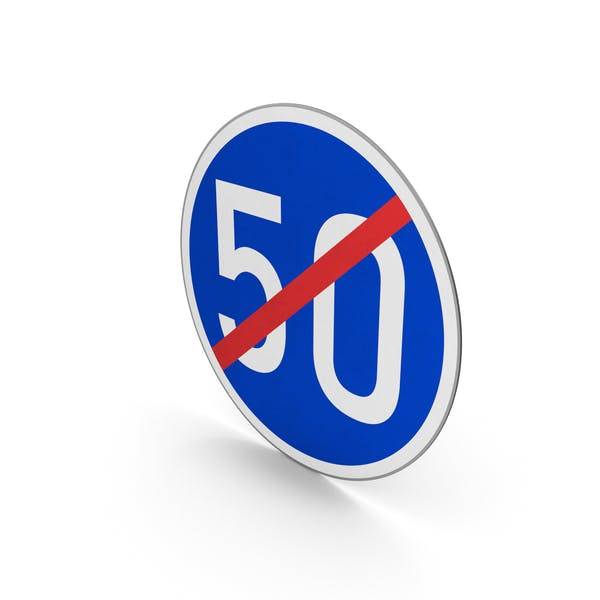 Ограничение минимальной скорости конца дорожного знака 50