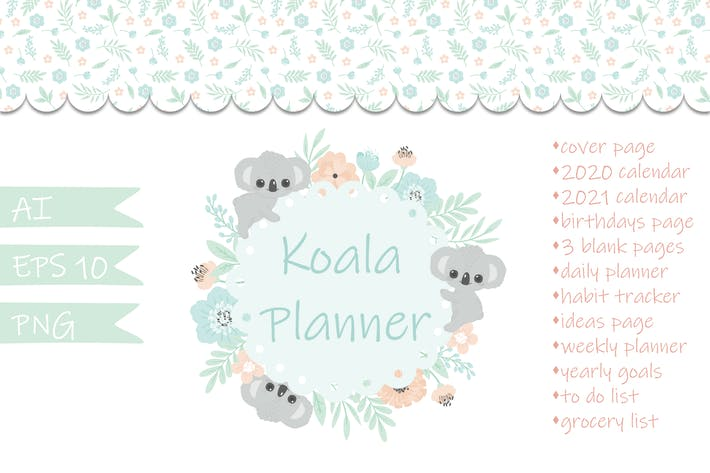 Thumbnail for Koala Floral Vector Planner