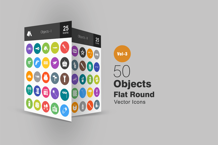 Thumbnail for 50 Objects Flat Round Icons