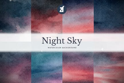 8 Nachthimmel Aquarell Hintergrund