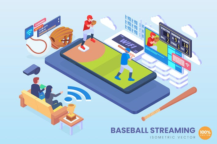 Thumbnail for Isometric Baseball Streaming Vector Concept