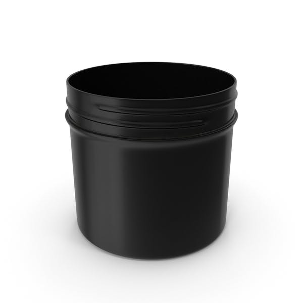 Black Plastic Jar Wide Mouth Straight Sided 4oz Without Cap