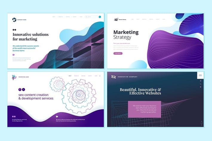 Cover Image For Set of Web Page Design Templates