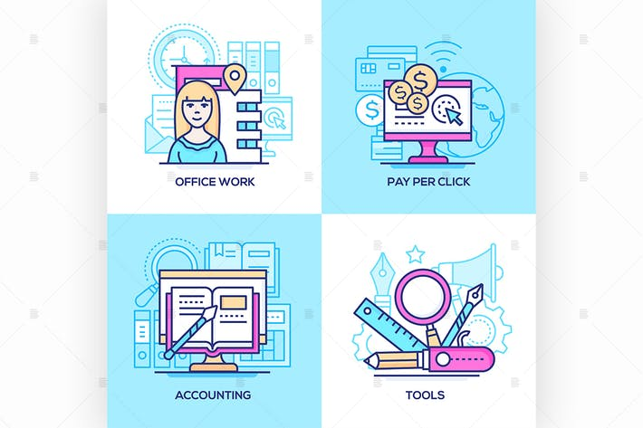 Cover Image For Business - set of line design style illustration