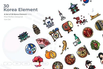 30 Korea Element Icons