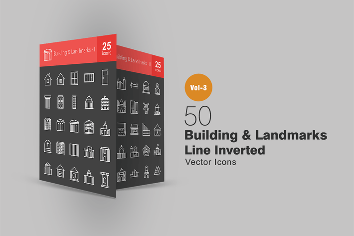 Thumbnail for 50 Buildings & Landmarks Line Inverted Icons