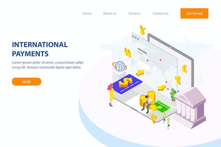 Thumbnail for Internation Payments Isometric Illustration - FV