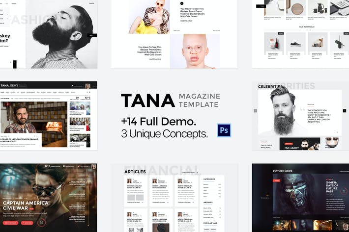 Thumbnail for Tana Magazine - Multipurpose PSD Template