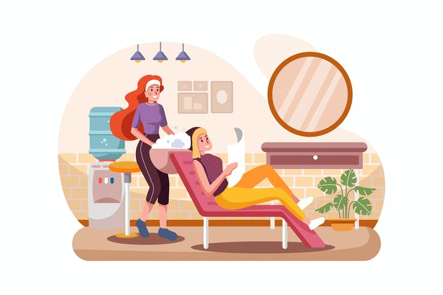Woman with hairdresser washing head at hair salon