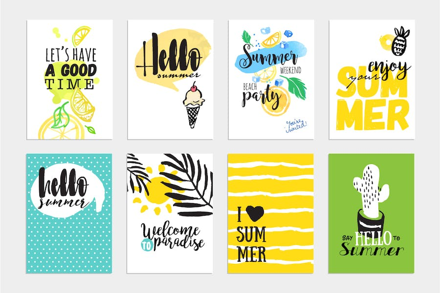 Set of hand drawn summer cards and banners.