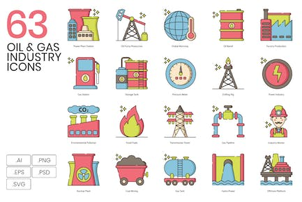 63 Oil & Gas Industry Line Icons