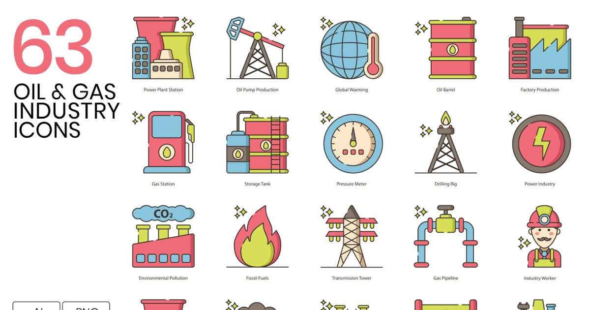 Download 63 Oil & Gas Industry Line Icons by Krafted