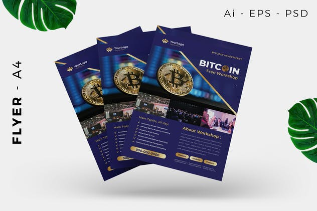 Bitcoin Cryptocurrency Mining Flyer - product preview 3