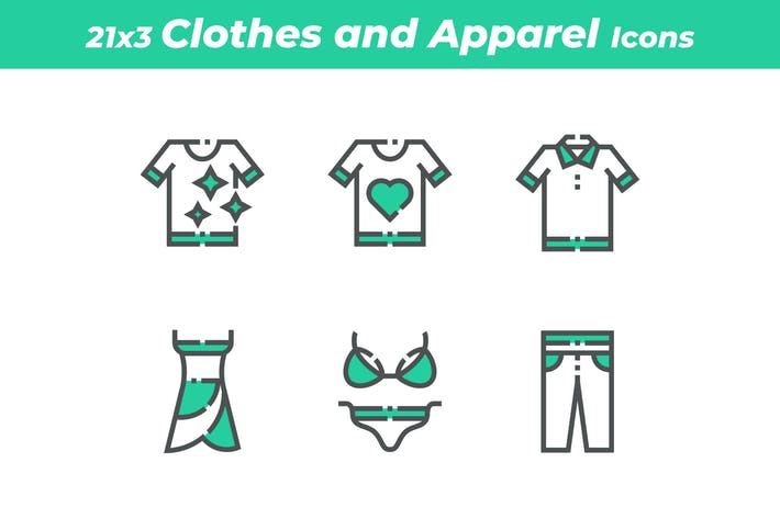 Thumbnail for 21 Clothes and Apparel Icons