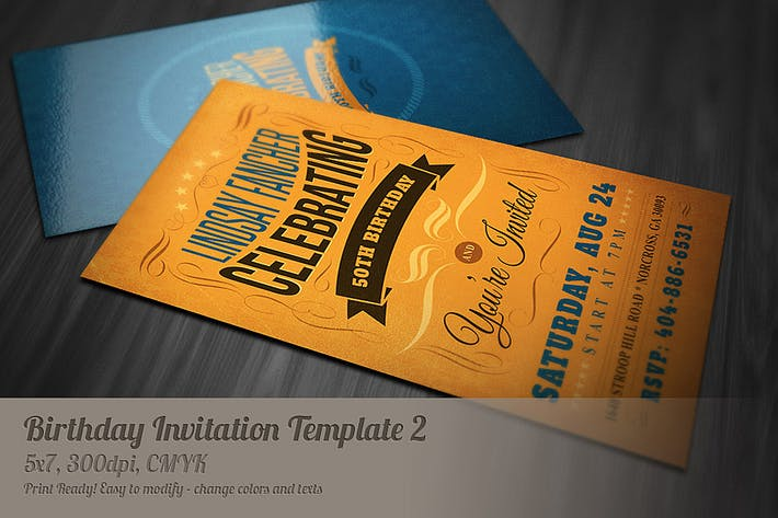 Thumbnail for Retro Birthday Invitation 2