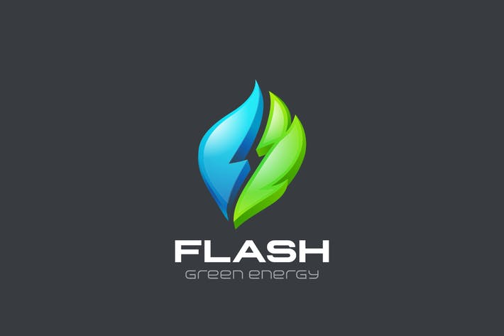 Thumbnail for Logo Flash Green Alternative Energy Water and Leaf