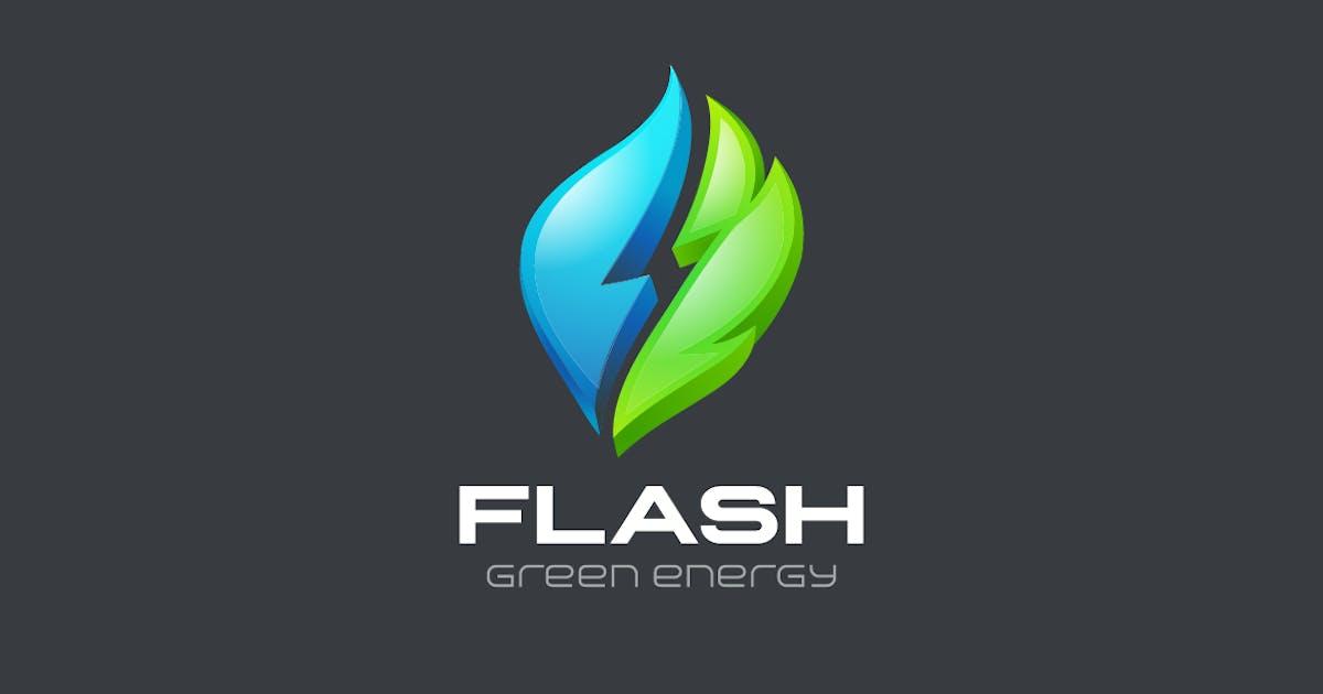 Download Logo Flash Green Alternative Energy Water and Leaf by Sentavio