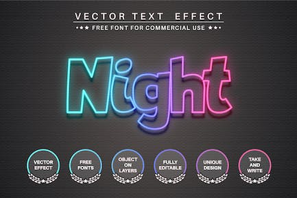 Night neon - editable text effect, font style