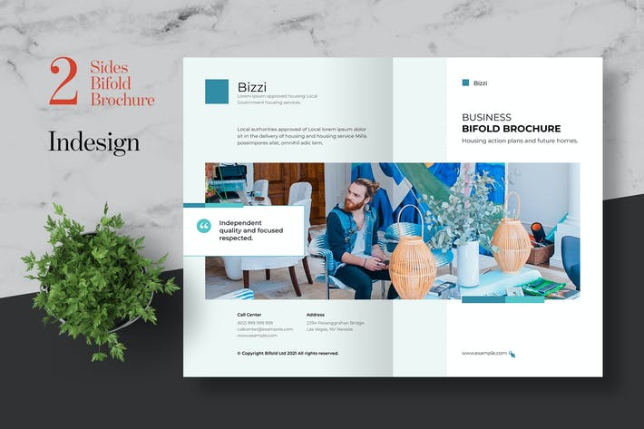 Clean Business Bifold Brochure Template