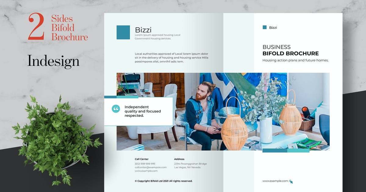 Download Clean Business Bifold Brochure Template by afahmy