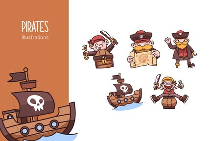 Piraten-Illustrationen
