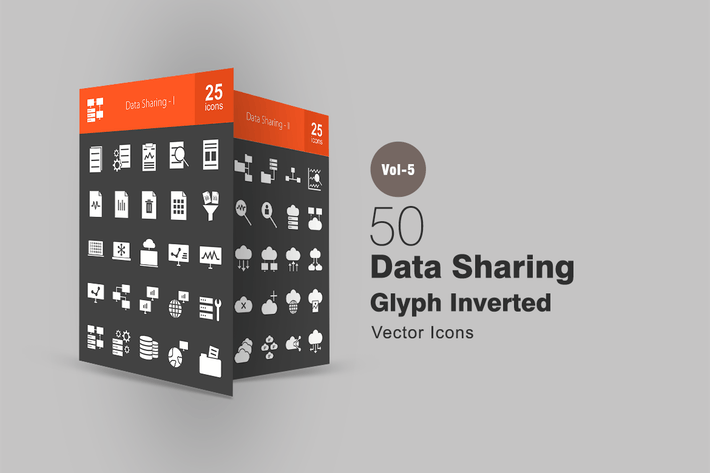 Thumbnail for 50 Data Sharing Glyph Inverted Icons