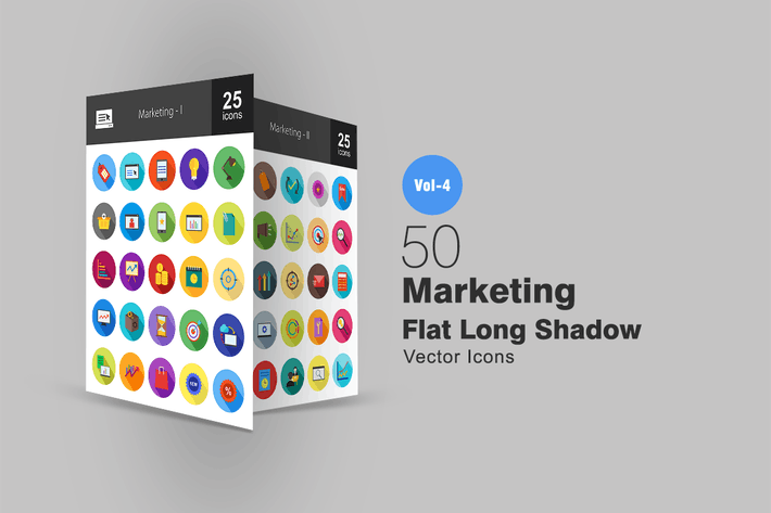 Thumbnail for 50 Marketing Flat Shadowed Icons