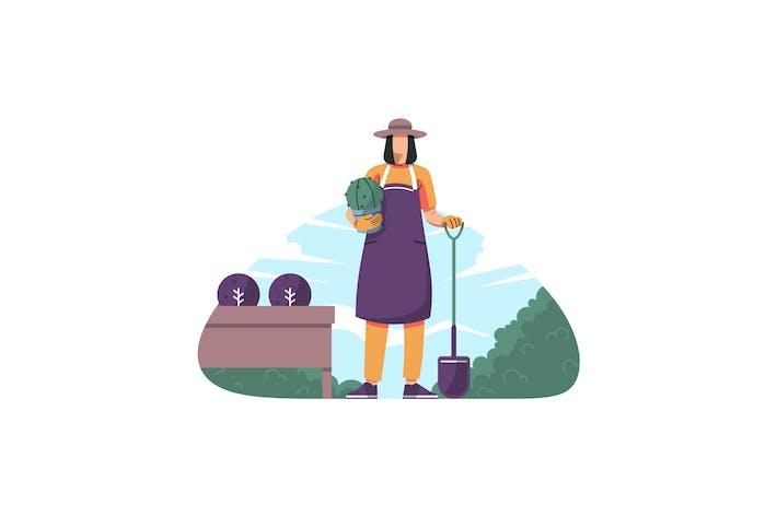 Thumbnail for Gartenarbeit Kaktus Illustration