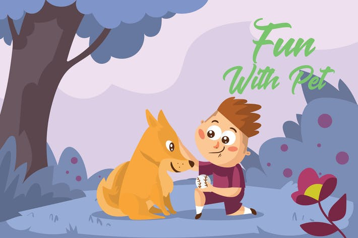 Thumbnail for Fun With Pet - Vector Illustration