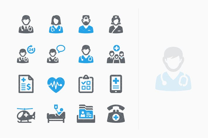 Blue Medical Services Icons Set 1 - Sympa Series