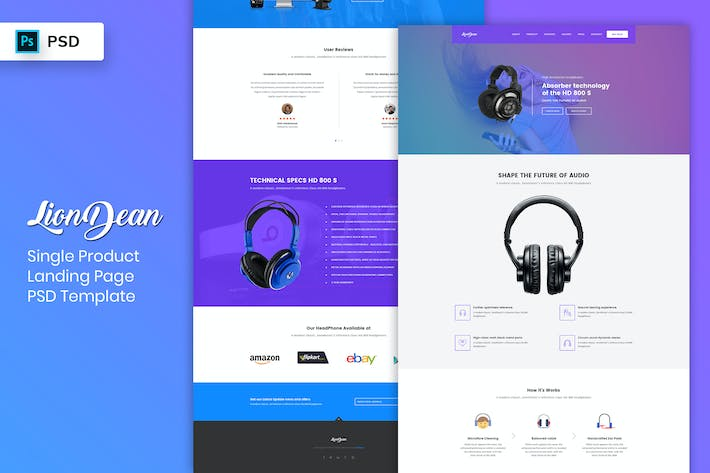Thumbnail for Single Product - Landing Page PSD Template-02