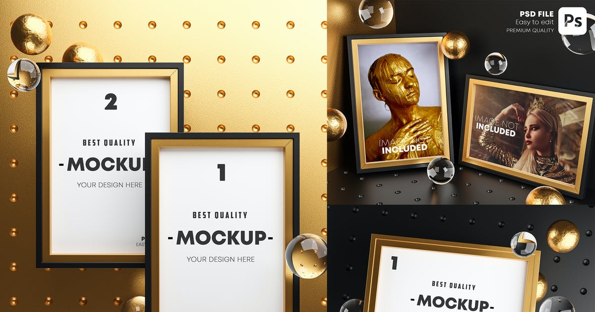 Download Gold Frame Mockup Bundle by Nmotion