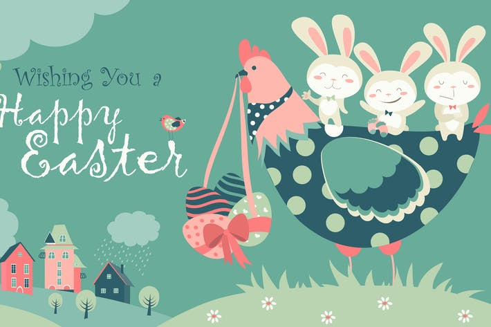 Thumbnail for Easter bunnies,chicken and easter eggs. Vector