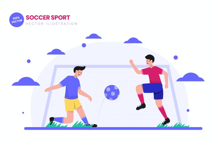 Thumbnail for Soccer Sport Flat Vector Illustration